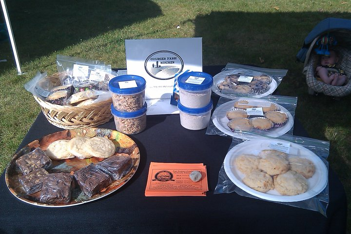 Selling gluten free baked goods at the local farmer's market.