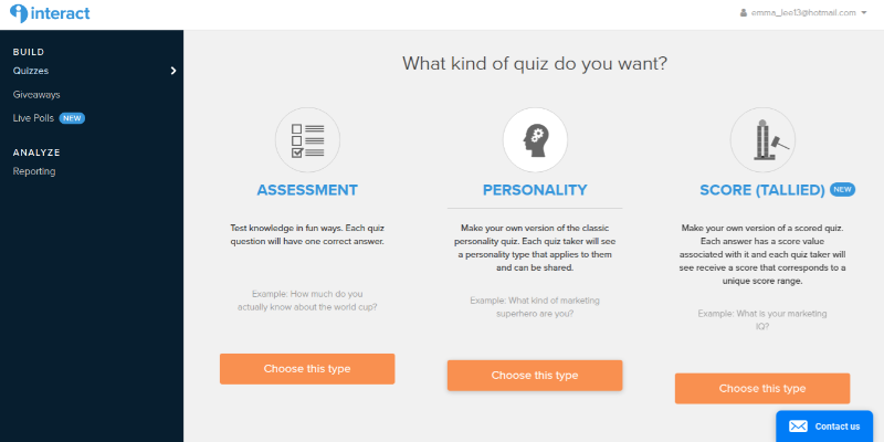 Interact lets you choose from three kinds of quizzes