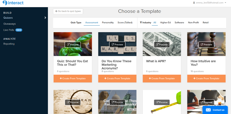 Templates you can chose in Interact to get your quiz started easily.