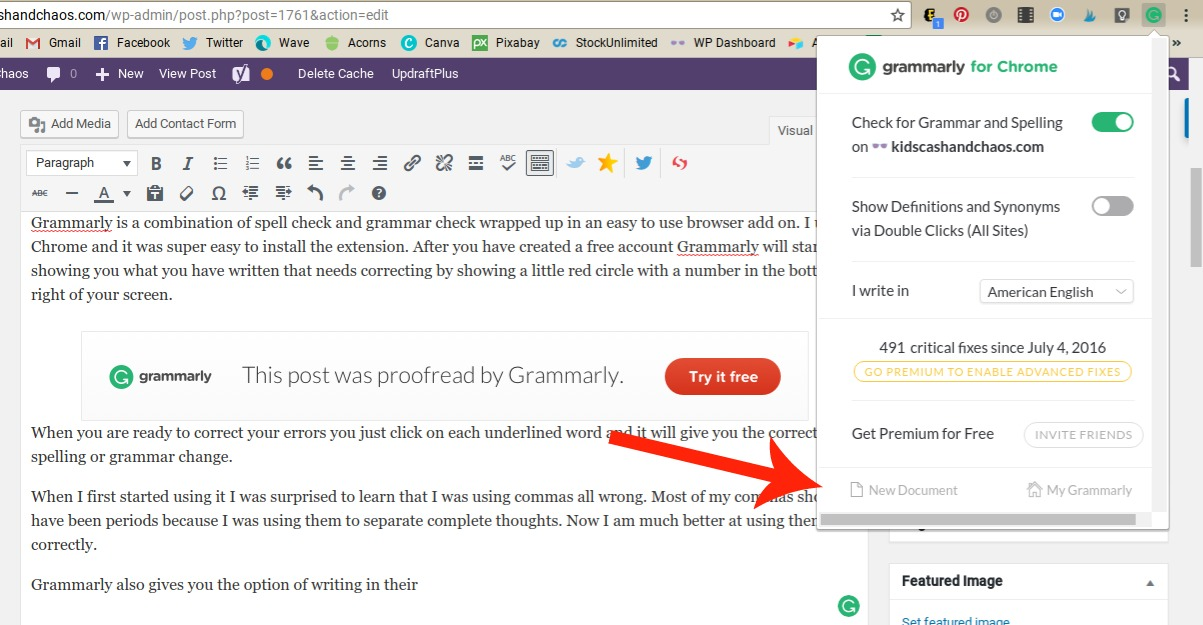 Create a document with Grammarly