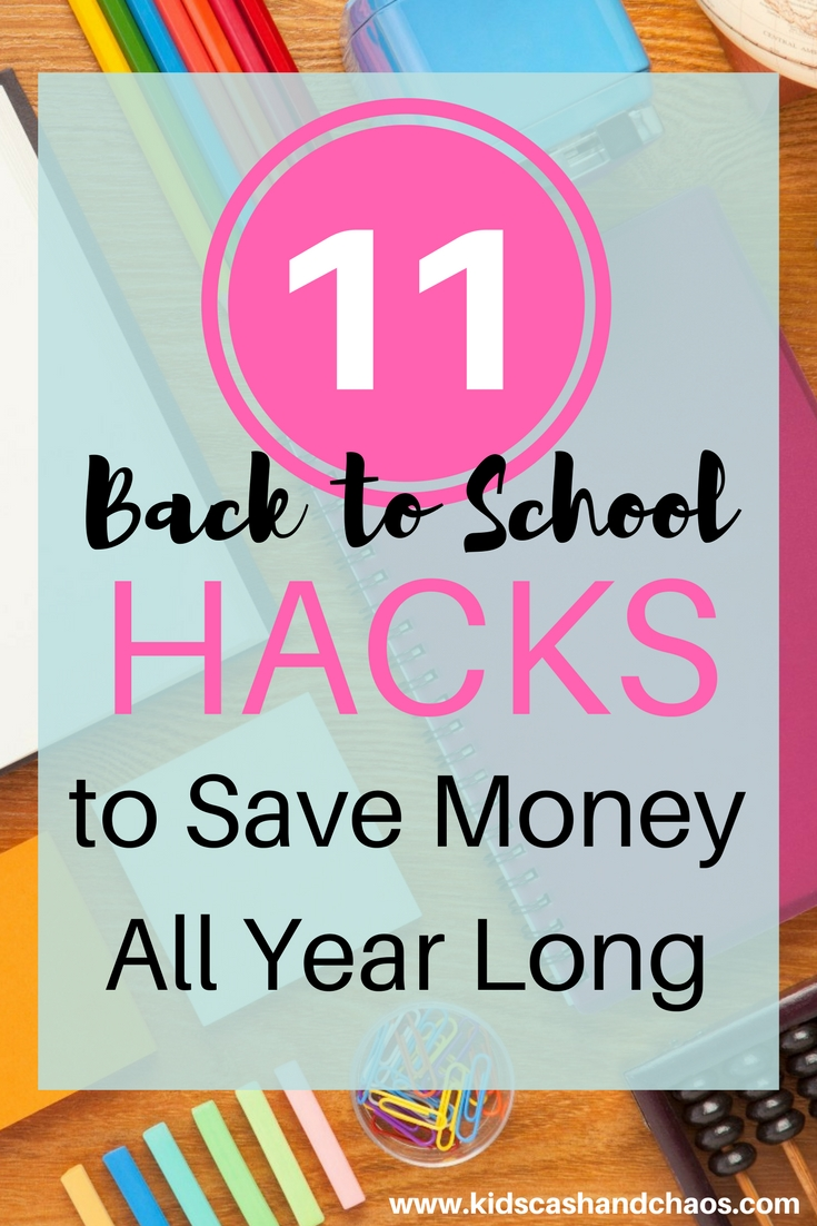 These 11 Back to School Hacks will help you save money all year long! #1 is my favorite! I can't wait to do this for my kids. #10 is a program I didn't know about either!
